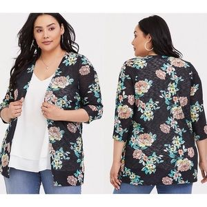 Torrid Floral Hacci Knit Open Front Cardigan